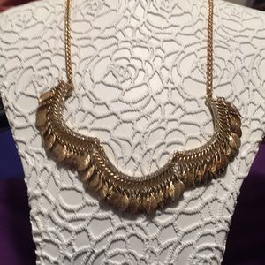 "Gold leaf ""fringe"" necklace"